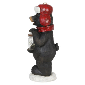 Holiday Bear Statue Holding a Jar of LED Fireflies on Battery Operated Timer