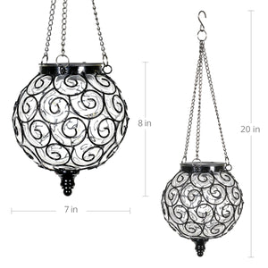 Solar Round Glass and Metal Hanging Lantern with 15 LED Fairy Firefly String Lights, 7 by 21 Inches