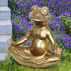 Golden Meditating Yoga Frog Garden Statue, 14.5 Inches