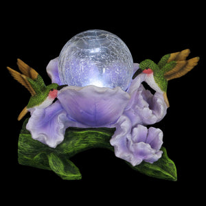 Exhart Solar Crackle Glass Orb in a Purple Blossom with Hummingbirds, 10 Inch