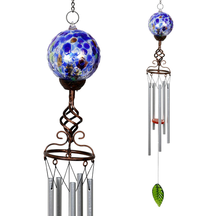 Solar Pearlized Blue Honeycomb Glass Ball Wind Chime with Metal Finial Detail, 4 by 46 Inches