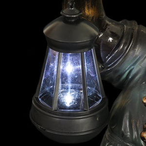 Solar Lantern Girl in Bronze Look with Patina Finish Garden Statuary 24.5 Inch