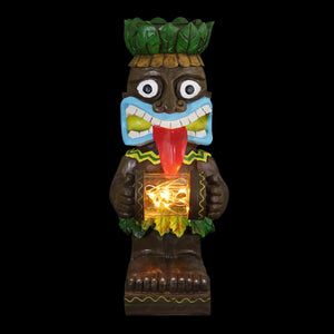 Solar Wide Eyed Totem Garden Statue Holding A Glass Jar With 6 LED Fairy Firefly String Lights, 4 by 11 Inches