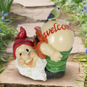 Solar Good Time Mooning Marty Gnome Welcome Sign Garden Statue with Bird, 11 Inch