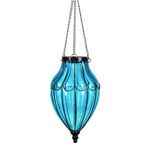 Solar Blue Glass Hanging Lantern with Waving Metal Pattern, 7.5 by 25 Inches