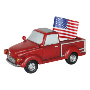Solar Red Patriotic Garden Truck Statue with American Flag, 6.5 by 11 Inch