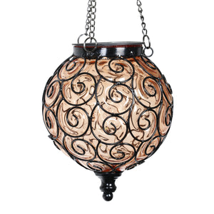 Solar Round Glass and Metal Hanging Lantern in Amber with 15 LED Fairy Firefly String Lights, 7 by 21 Inches