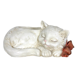 Exhart Sleeping Cat Flower Pot, 12 by 6 Inches