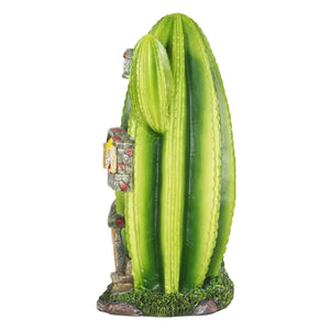 Solar Striped Cactus Fairy House Hand Painted Garden Statue, Stands 18 Inches