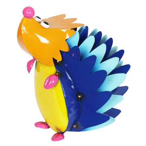Colorful Metal Hedgehog Statuary, 8 Inch