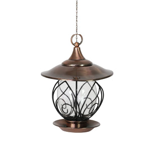 Exhart Metal Hanging Bird Feeder with leafy wire accent in bronze, 15 Inch