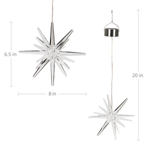 Exhart Solar Acrylic Hanging Star Garden Decor with White LED light, 8 by 28 inches