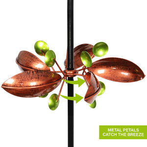 Triple Flower Wind Spinner Garden Stake in Bronze, 14 by 67 Inches