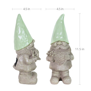 Solar Mint Happy Hat Gnome Statue, 11 Inch