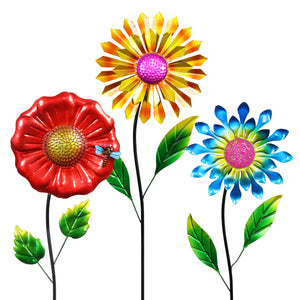 Metal Flower Garden Stake Set of 3, 9 Inch