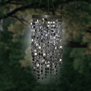 Large Shimmer Chandelier Wind Chime w Battery Box w Timer Silver RS