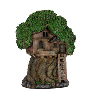 Solar Fairy Tree House with Deck and Ladder Garden Statue,  12 Inch