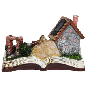 Solar Fairy House Pop Up Book Garden Statue, 10 by 7 Inches