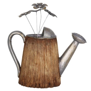 Woodsy Sprouting Watering Can with Silver Accents, 13 Inch