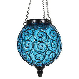 Exhart Solar Round Glass and Metal Hanging Lantern in Blue with 15 LED Fairy Firefly String Lights, 7 by 21 Inches