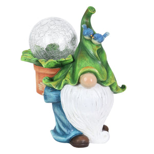 Garden Gnome with Solar Crackle Ball in a Flower Pot Statuary, 9 by 11 Inch
