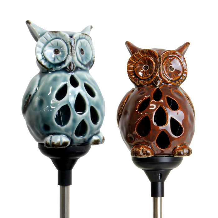 Solar Resin Owl Stake Set in Blue and Brown, 3 by 29 Inches