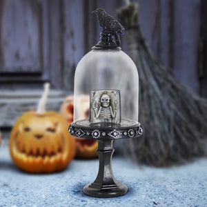 spooky crow on a pedestal Halloween LED dome with skeleton book, 11 Inch