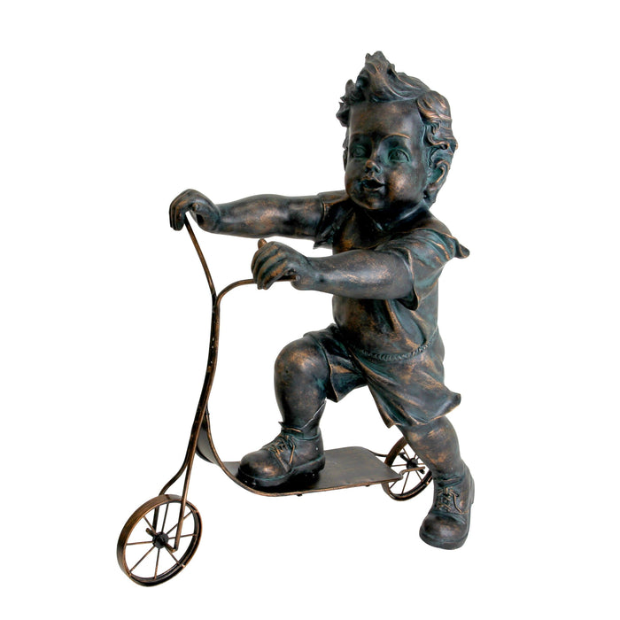 Charming Boy on a Scooter Bronze Look Statue, 20 Inch