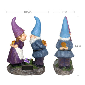 Solar Good Time Smooching Gnomes Garden Statue, 15 by 14 Inches