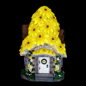 Solar Sunflower Roof Fairy Garden House, 9 by 15 Inches