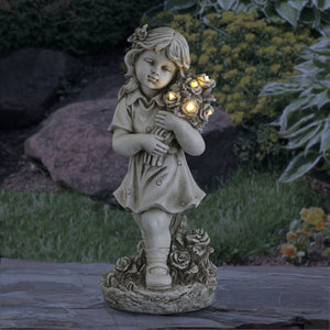 Little Girl Resin Garden Statue with Solar Flower Bouquet, 18 Inches