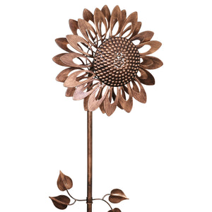 Dual Spinning Kinetic Bronze Sunflower Garden Stake in Metal, 47.5 Inches tall