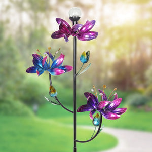 Triple Kinetic Flower Wind Spinner Garden Stake with Solar Color Changing Crackle Glass Ball, 21 by 70 Inches tall