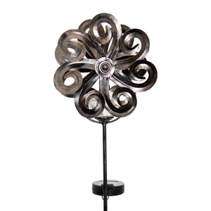 Exhart Solar Kinetic Double Wave Windmill Metal and Crackle Glass Garden Spinner Stake