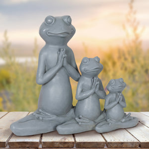 Three Lotus Posing Frogs Statue, 9 Inches