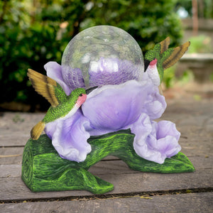 Solar Crackle Glass Orb in a Purple Blossom with Hummingbirds, 10 Inch
