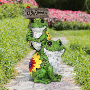 Two Frogs with Welcome Sign Resin Décor, 12 Inch