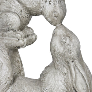 Kissing Rabbit with Baby Bunny Garden Statue in Natural Resin Finish, 15 Inches