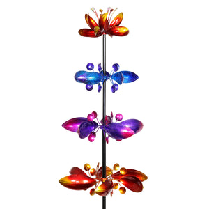 Lotus Flower Wind Spinner Garden Stake with Four Metallic Flowers, 17 by 76 Inches