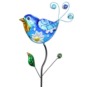 Exhart Hand Painted Glass and Metal Blue Bird Garden Stake, 35 inches