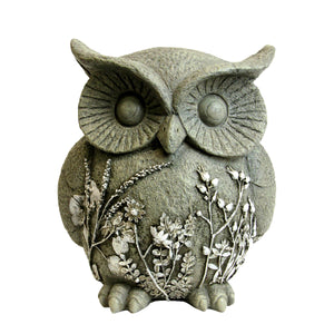 Solar Owl Garden Statue with Flowers, 12 Inch