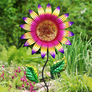 Colorful Metal Sunflower Garden Stake in Red, 16 by 56 Inches
