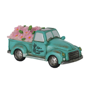 Solar Retro Blue Truck with LED Pink LED Flowers Garden Statuary, 5 Inch