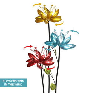 Flower Wind Spinner Garden Stake with Three Metallic Flowers, 17 by 53 Inches