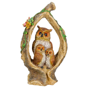 Solar Owl Family in a Tree Stump Garden Statue, 6 by 13 Inches