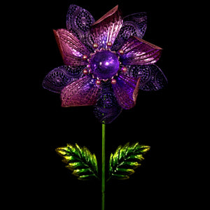 Purple Solar Flower Wind Spinner Garden Stake, with Solid and Metal Lace Petals, 16 by 58 Inches