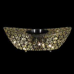 Metal Filigree Planter with 50 LED lights on an Automatic Timer, 18 by 5 Inches