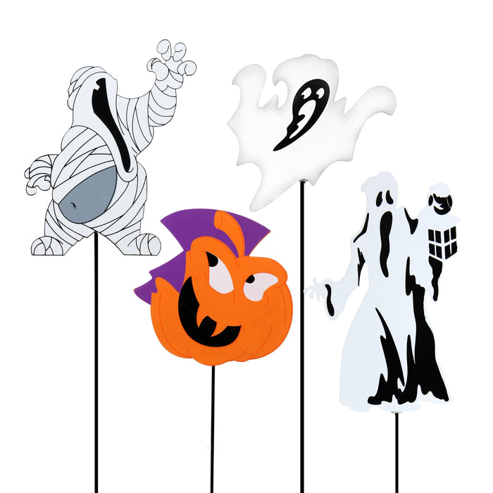 8 Piece Metal Halloween Garden Stake Assortment, 32 Inches tall