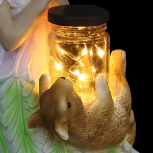 Solar Wishing Fairy with Firefly Jar and Squirrel, 10 Inch