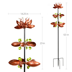 Exhart Triple Flower Wind Spinner Garden Stake in Bronze, 14 by 67 Inches